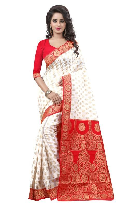 Buy Holyday Womens Banarasi Silk Thread Saree_ Orange Red (with Blouse) online