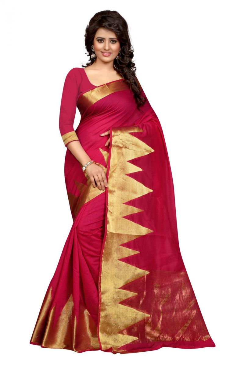 Buy Holyday Womens Poly Cotton Saree, Pink (raj_mountian_pink) online