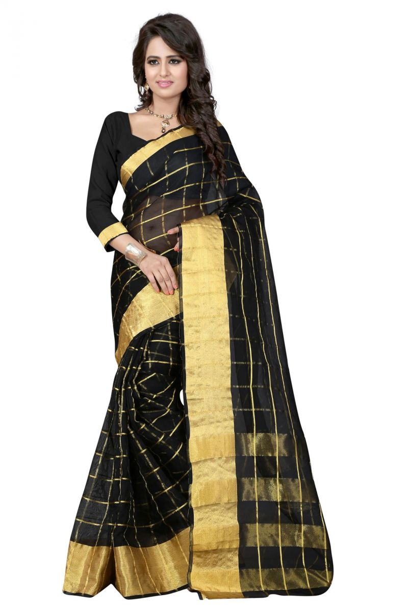 Buy Holyday Womens Silk Cotton Saree, Black (raj_orgenza_black) online