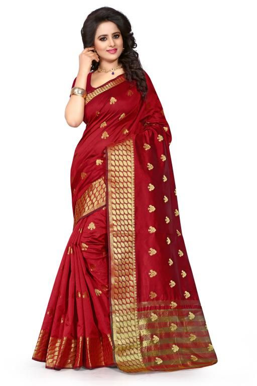 Buy Holyday Womens Poly Cotton Self Design Saree, Red (tamasha_butti_red) online