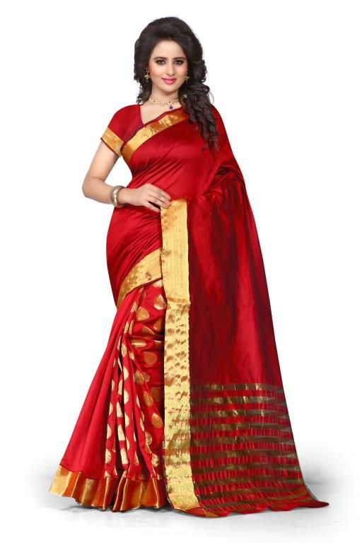 Buy Holyday Womens Poly Cotton Self Design Saree, Red (tamasha_tilak_red) online