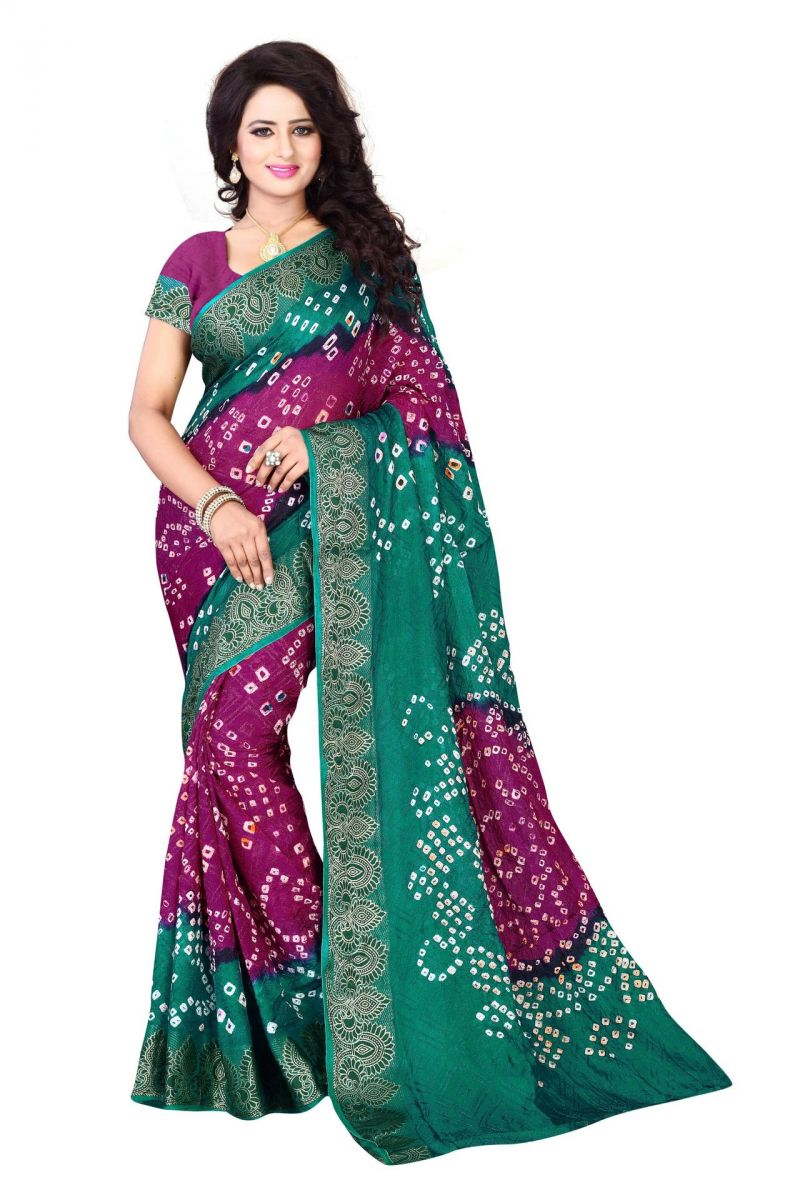 Buy Holyday Womens Cotton & Crush Saree, Rama (bandhej_rama_rani) online