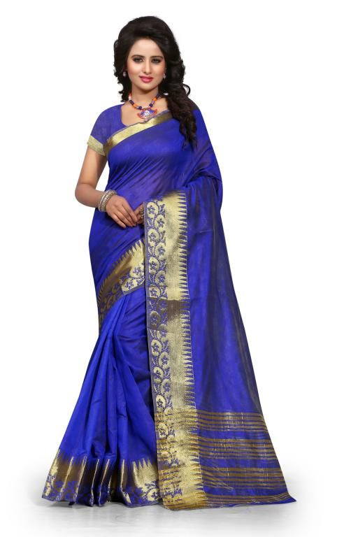 Buy Holyday Womens Poly Cotton Self Design Saree, Blue (sharma_flower_blue) online