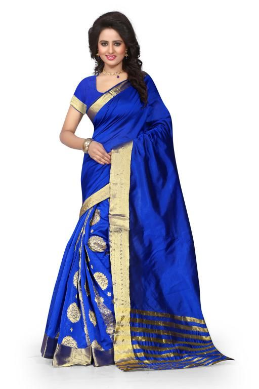 Buy Holyday Womens Poly Cotton Self Design Saree, Blue (tamasha_gehana_blue) online