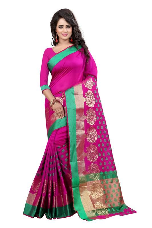 Buy Holyday Womens Banarasi Silk Thread Saree_ Dark Plum (with Blouse) online