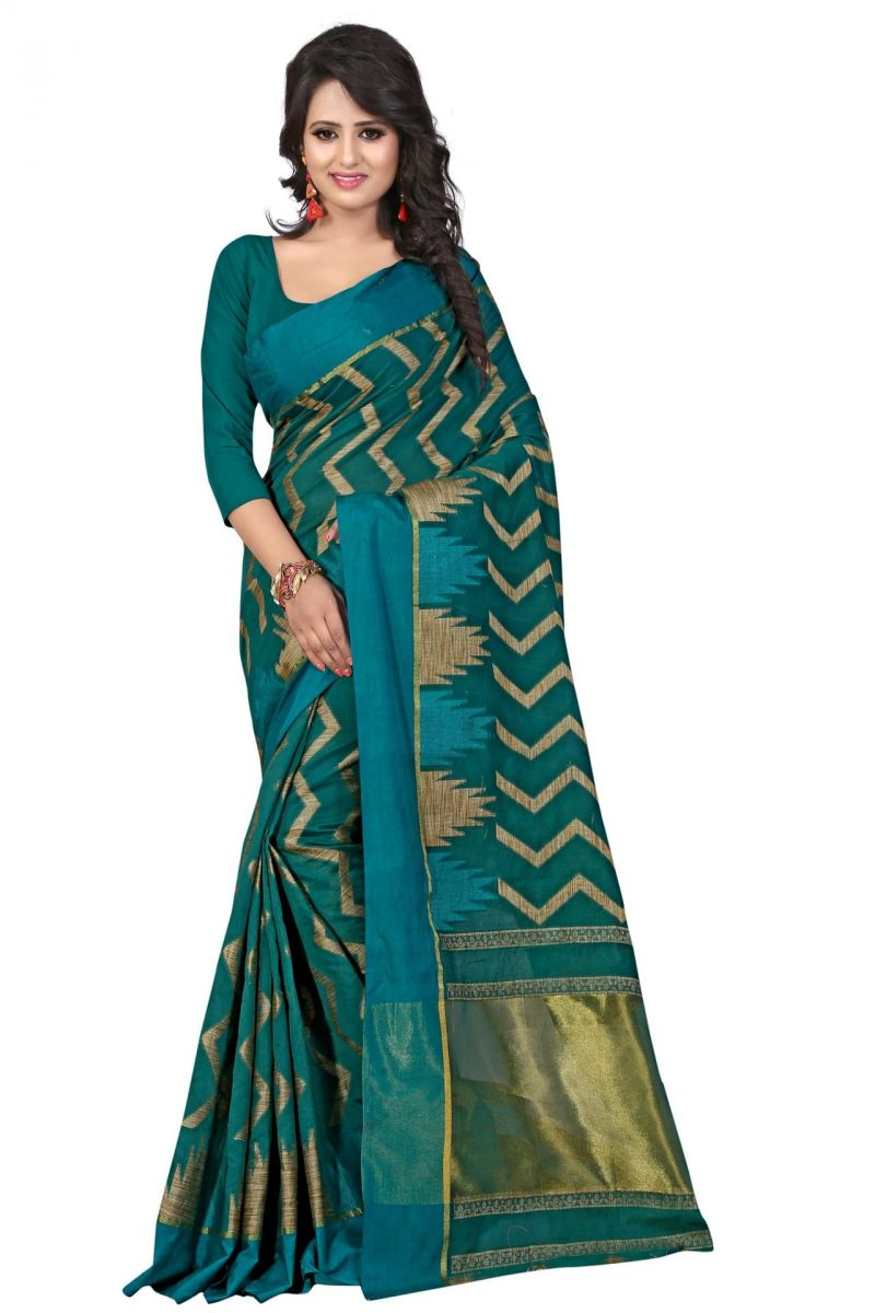 Buy Holyday Womens Poly Cotton Saree, Rama (azar_beauty_rama) online