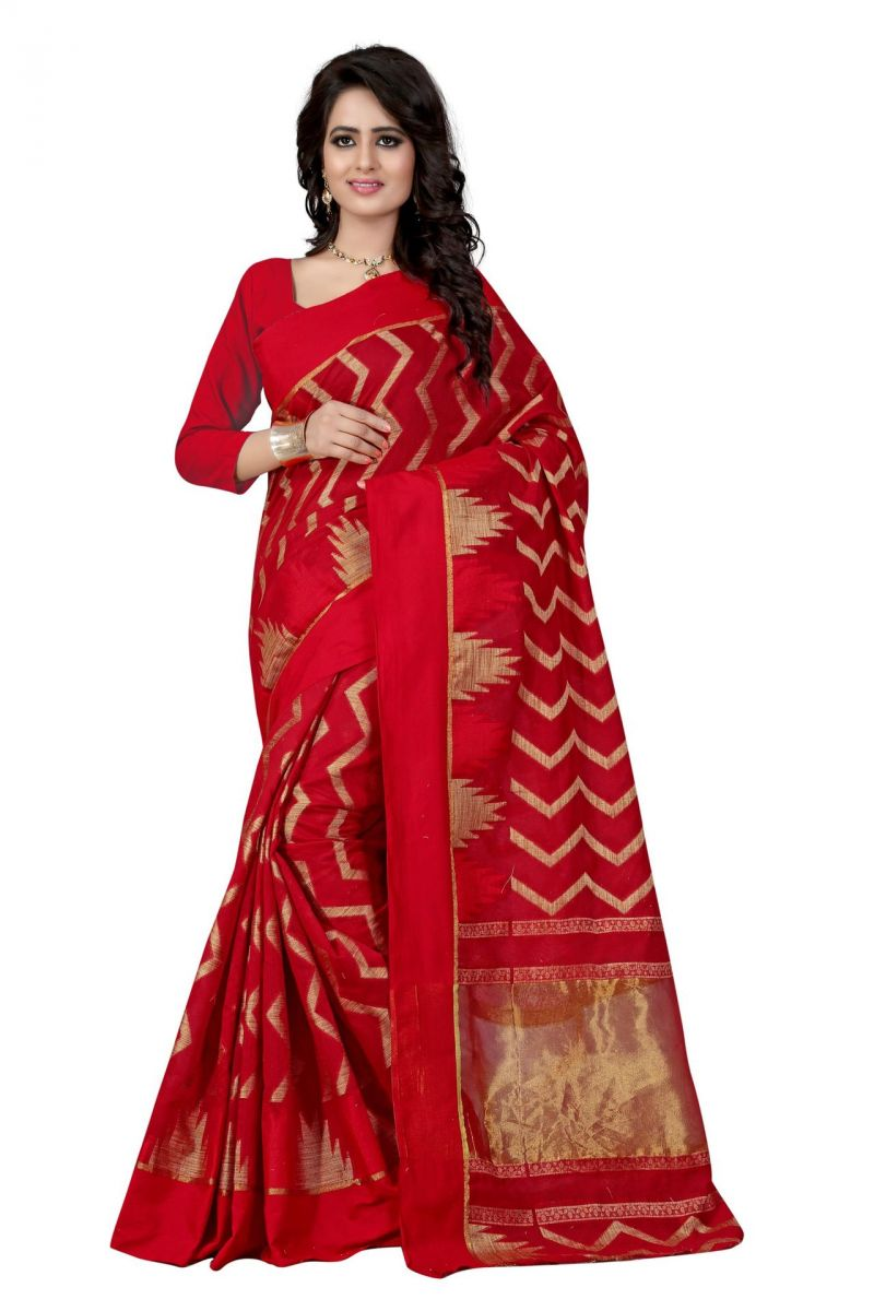 Buy Holyday Womens Poly Cotton Saree, Red (azar_beauty_red) online
