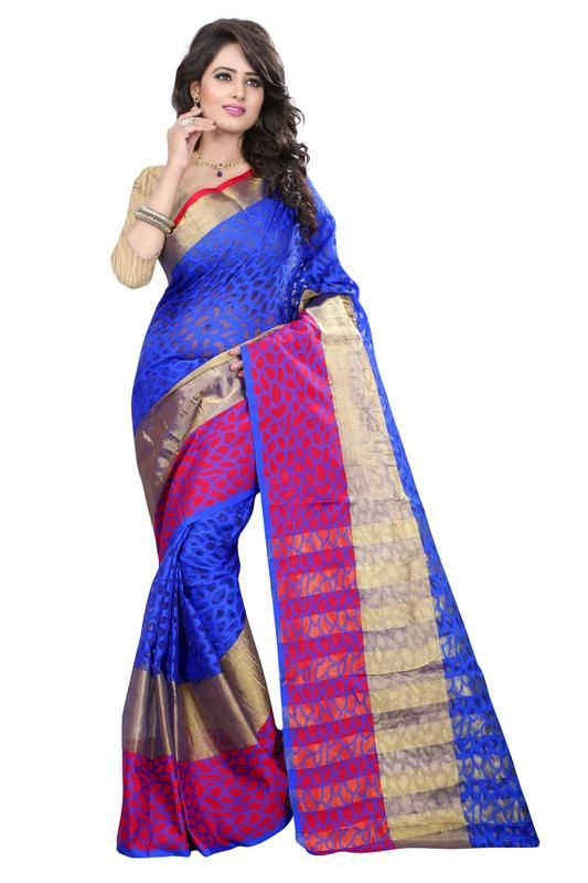 Buy Holyday Womens Brasso Thread Saree_ Light Blue (with Blouse) online