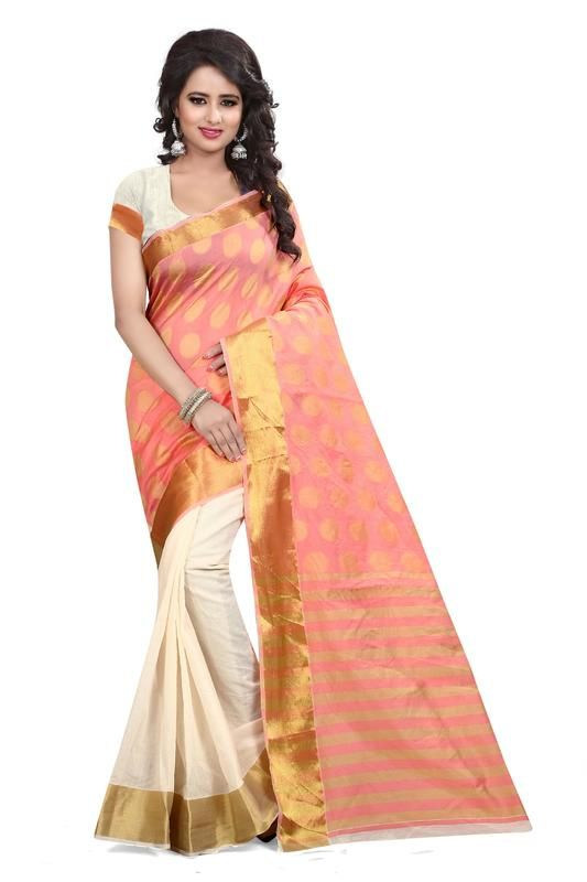 Buy Holyday Womens Silk Thread Saree_ Peach (with Blouse) online