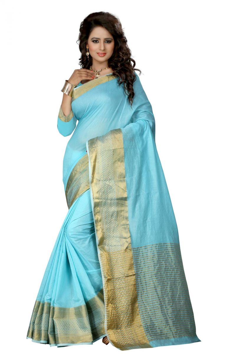 Buy Holyday Womens Cotton Silk Saree, Blue (eco_sweet_sky Blue) online