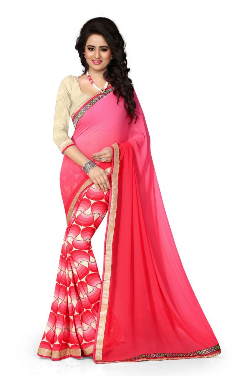 Buy Holyday Womens Georgette Saree, Pink (holy_pink_butterfly) online
