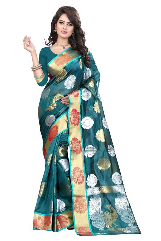 Buy Holyday Womens Banarasi Silk Thread Saree_ Dark Ice Blue (with Blouse) online