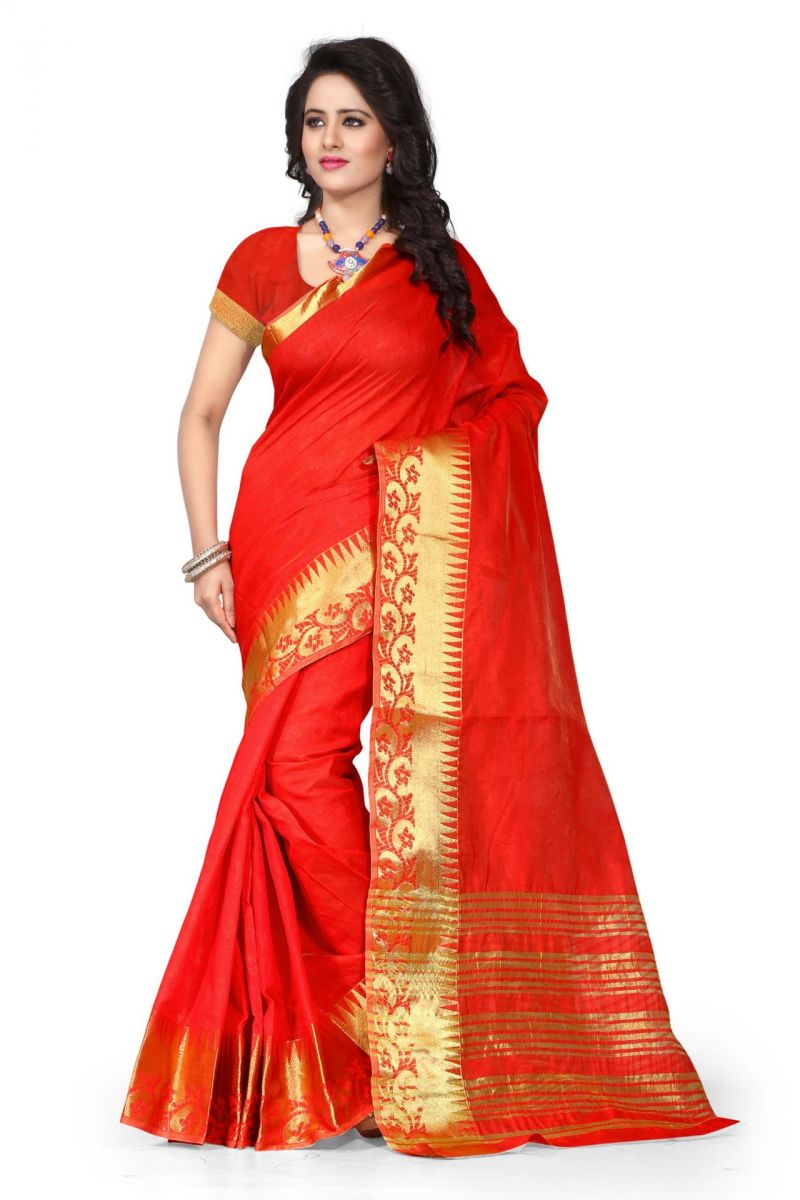 Buy Holyday Womens Cotton Silk Saree, Red (sharma_flower_red) online