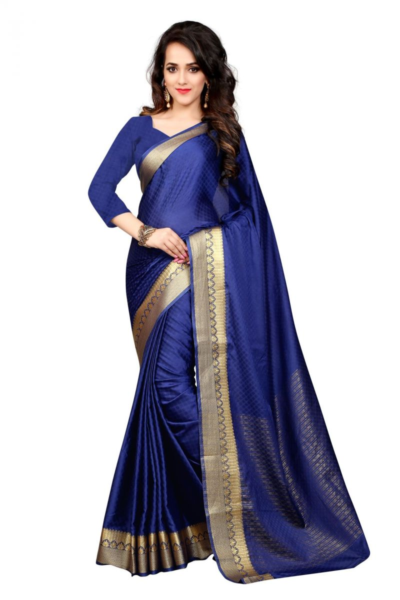 Buy Holyday Womens Cotton Saree, Blue (sharma_lotus_blue) online