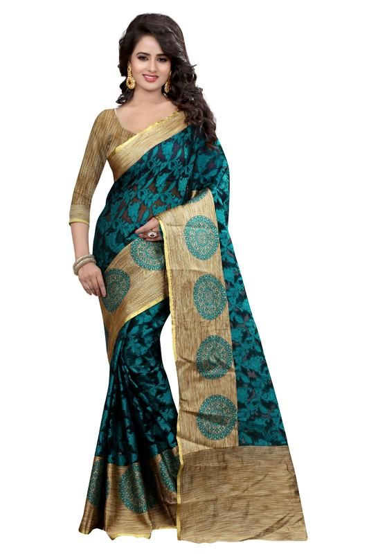 Buy Holyday Womens Brasso Thread Saree_ Dark Ice Blue (with Blouse) online