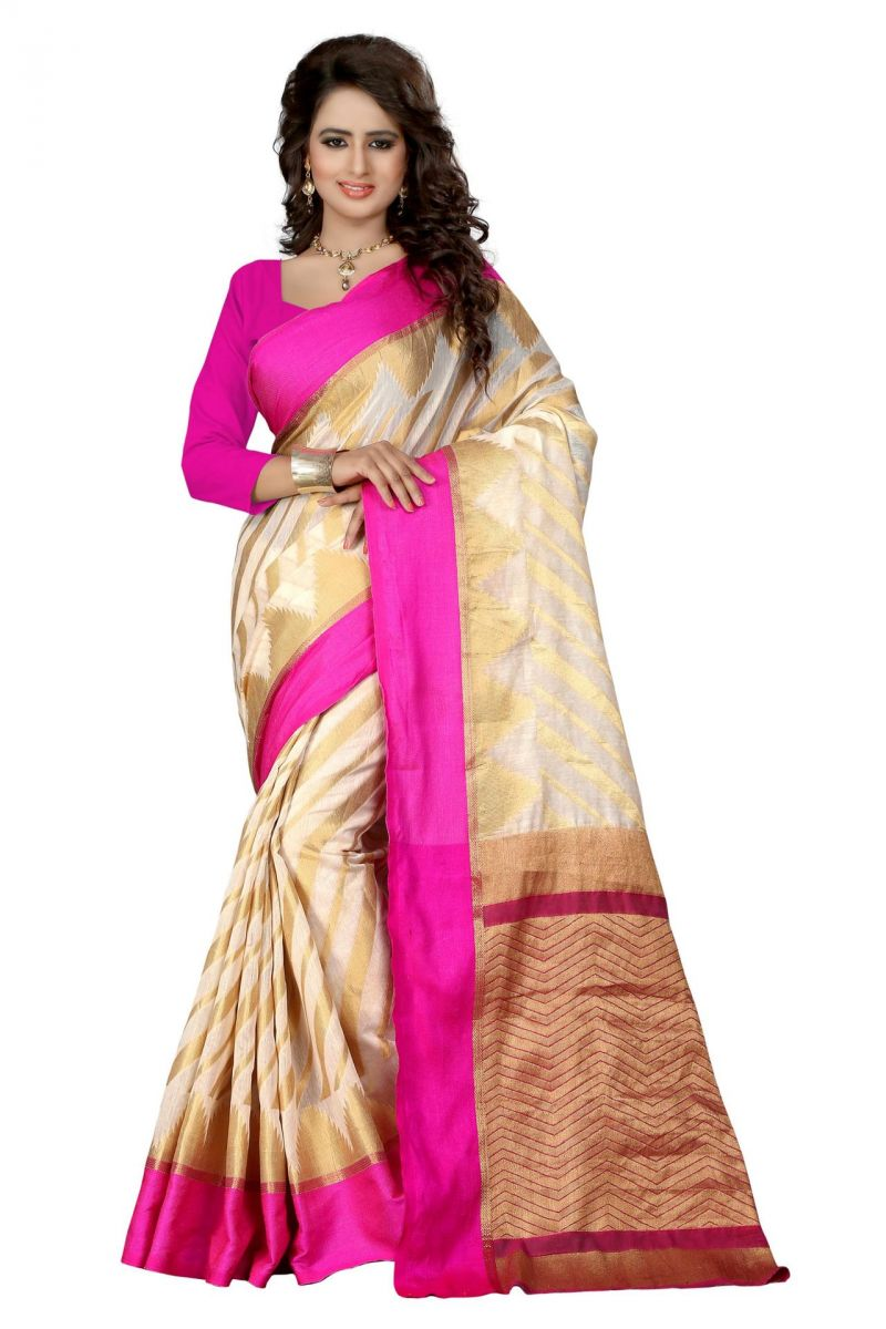 Buy Holyday Womens Silk Cotton Saree, Pink (house_full_pink) online