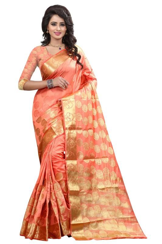 Buy Holyday Womens Banarasi Silk Thread Saree_ Orange Pink (with Blouse) online