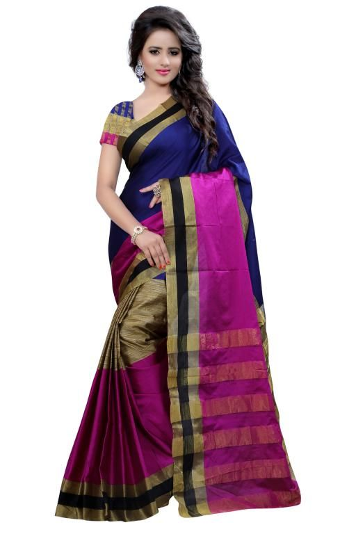 Buy Holyday Womens Tassar Silk Self Design Saree, Blue (raj_rani_blue) online