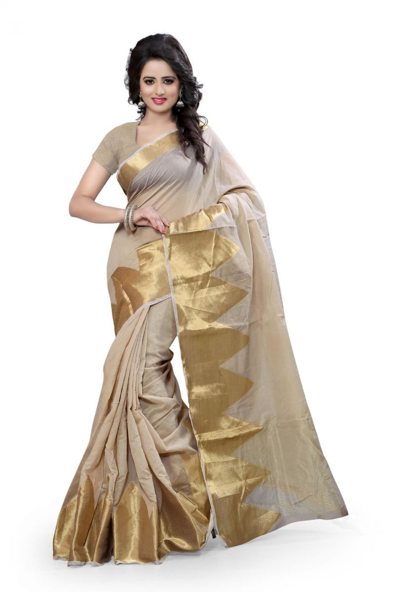 Buy Holyday Womens Poly Cotton Saree, Chikku (raj_piramid_chikku) online