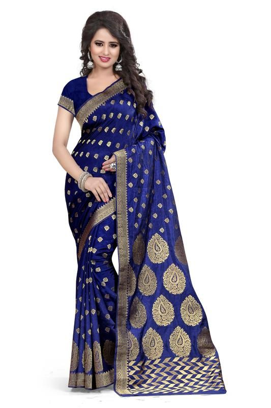 Buy Holyday Womens Banarasi Silk Thread Saree_ Nevy Blue (with Blouse) online