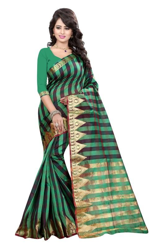 Buy Holyday Womens Banarasi Silk Thread Saree_ Mint Green (with Blouse) online