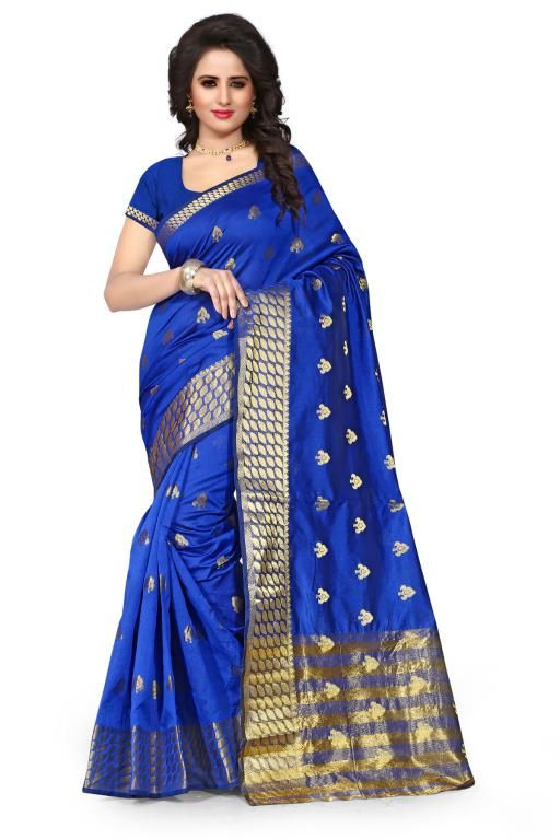 Buy Holyday Womens Poly Cotton Self Design Saree, Blue (tamasha_butti_blue) online