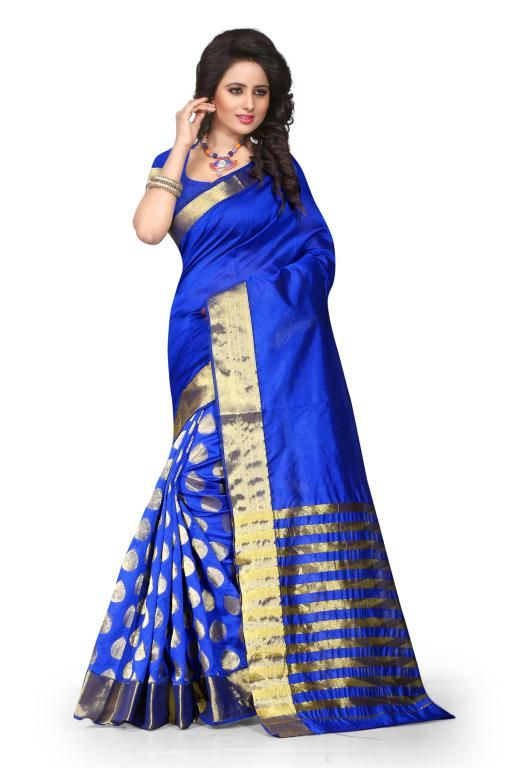 Buy Holyday Womens Poly Cotton Self Design Saree, Blue (tamasha_tilak_blue) online