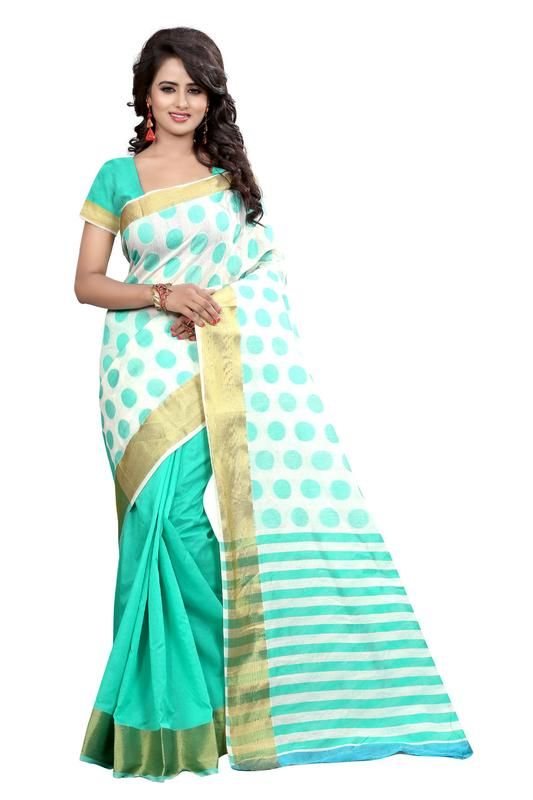 Buy Holyday Womens Silk Thread Saree_ Sea Green (with Blouse) online