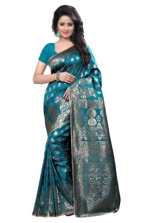Buy Holyday Womens Tassar Silk Self Design Saree, Navy Blue (banarasi_beauty_blue) online