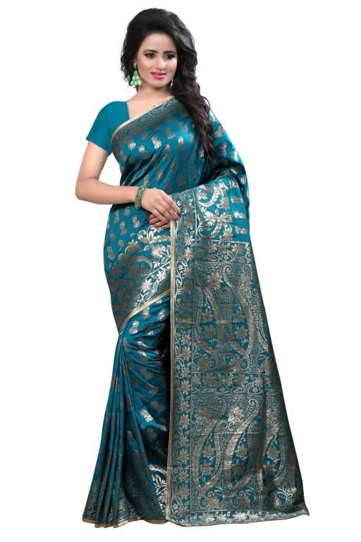 Buy Holyday Womens Tassar Silk Self Design Saree, Navy Blue (banarasi_beauty_navy Blue) online