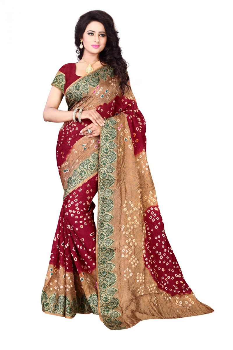 Buy Holyday Womens Cotton & Crush Saree, Res (bandhej_chikku_red) online