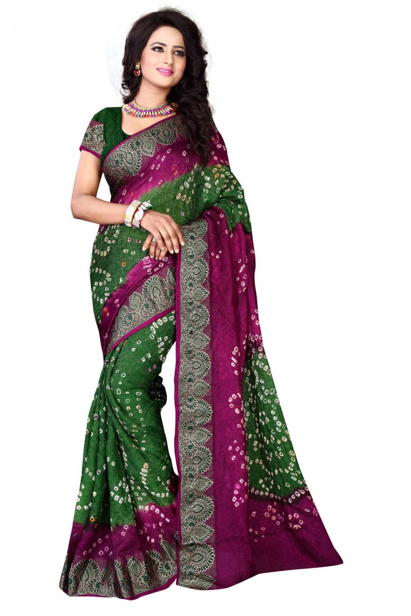 Buy Holyday Womens Cotton & Crush Saree, Green (bandhej_rani_green) online