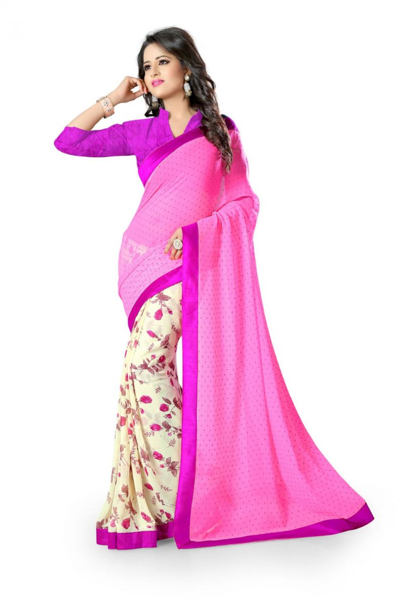 Buy Holyday Womens Georgette Saree, Pink (neha_rani_pink) online
