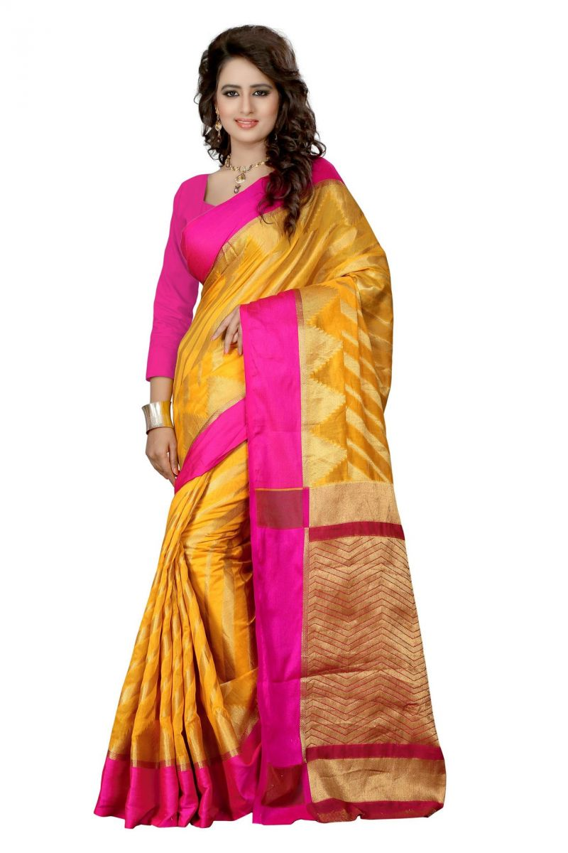 Buy Holyday Womens Silk Cotton Saree, Yellow (house_full_yellow) online