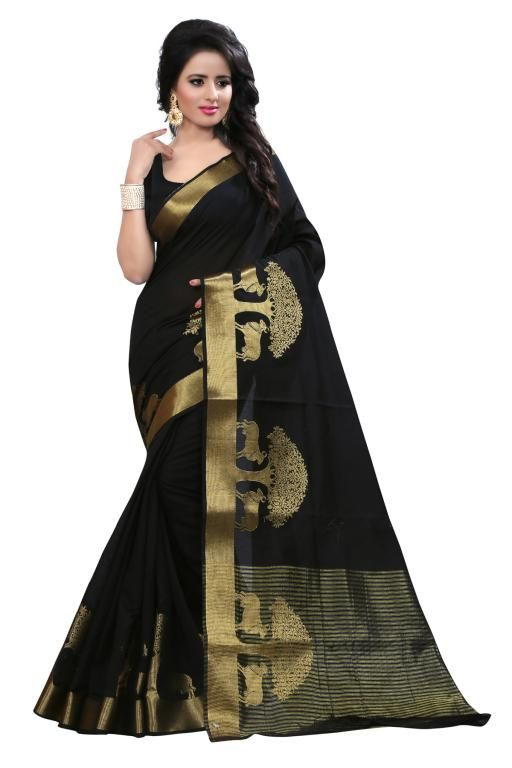 Buy Holyday Womens Cotton Silk Self Design Saree, Black (raj_tree_black) online