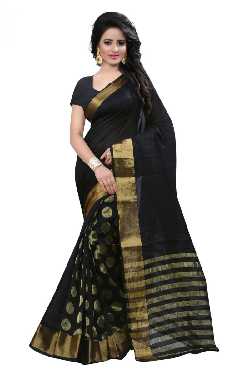 Buy Holyday Womens Cotton Silk Saree, Black (raj_black_round) online