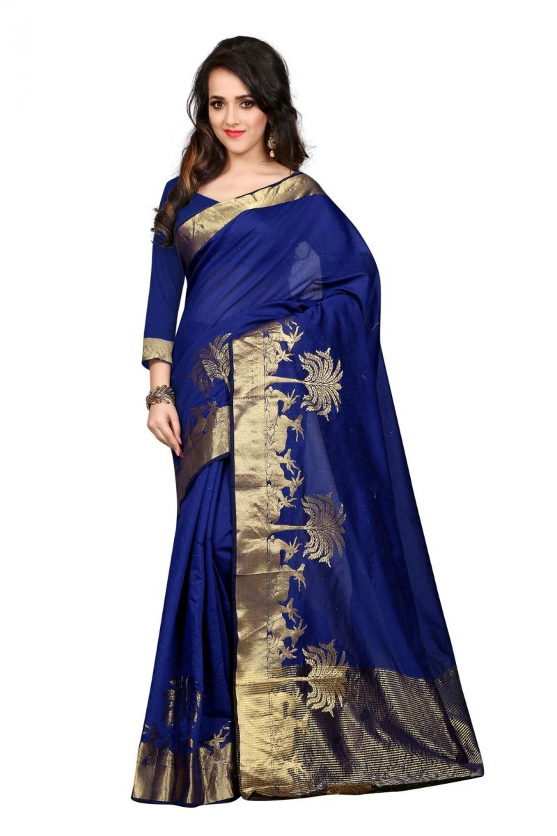Buy Holyday Womens Poly Cotton Saree, Blue (raj_blue_haran) online