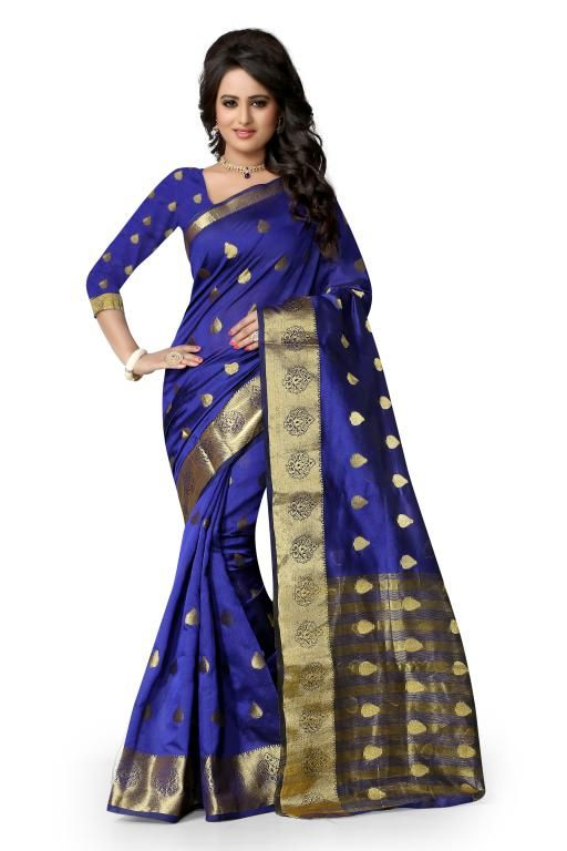 Buy Holyday Womens Poly Cotton Self Design Saree, Blue (raj_butti_blue) online