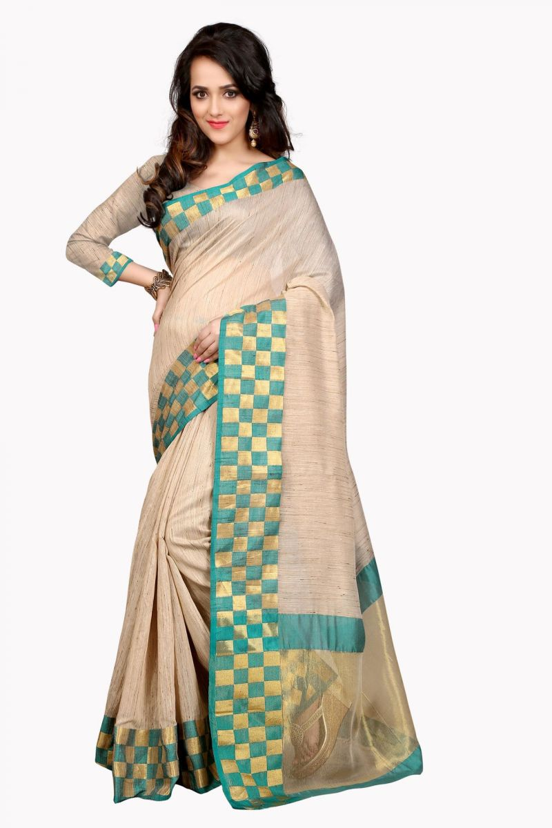 Buy Holyday Womens Cotton Silk Saree, Green (raj_cheks_green) online