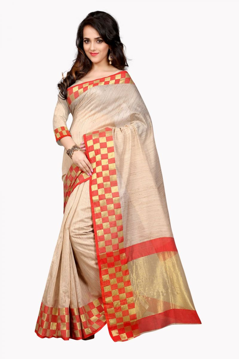 Buy Holyday Womens Cotton Silk Saree, Red (raj_cheks_red) online