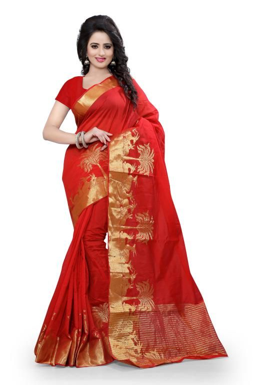 Buy Holyday Womens Cotton Silk Self Design Saree, Red (raj_haran_red) online