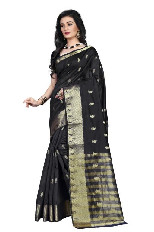 Buy Holyday Womens Poly Cotton Self Design Saree, Black (raj_mango_black) online
