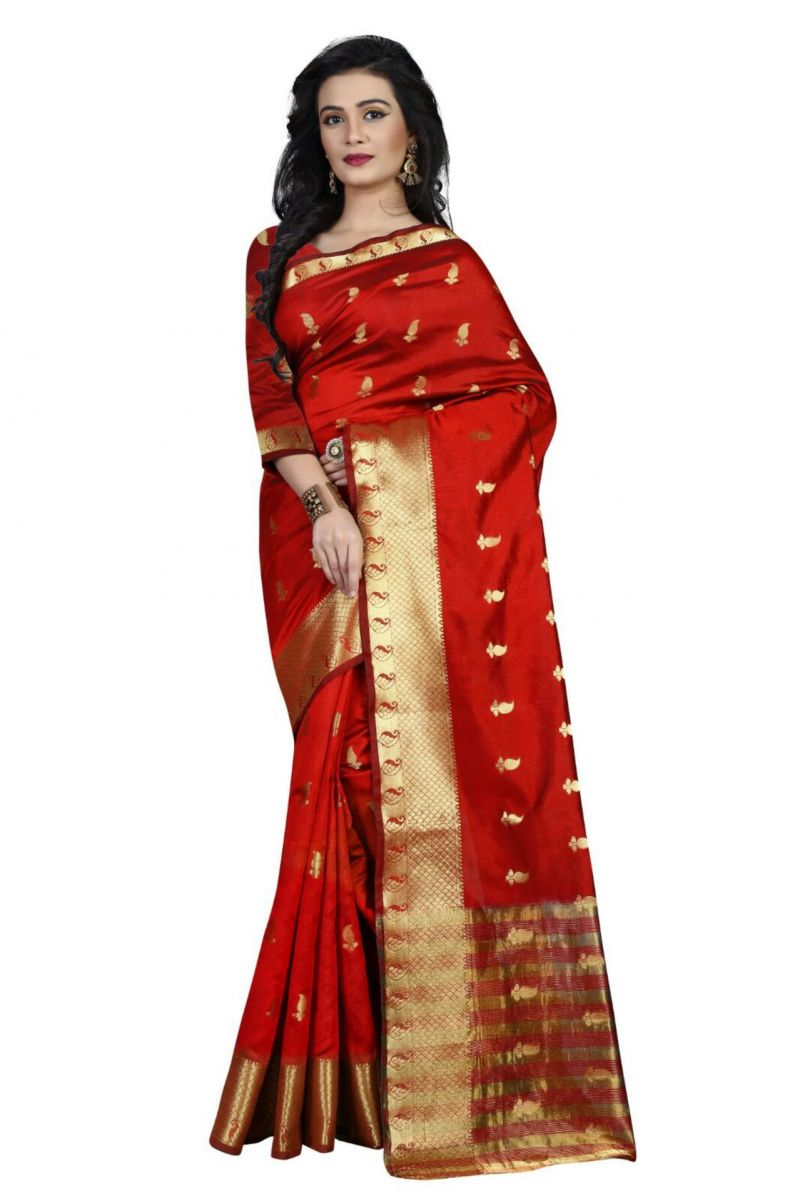 Buy Holyday Womens Cotton Silk Saree, Red (raj_mango_red) online