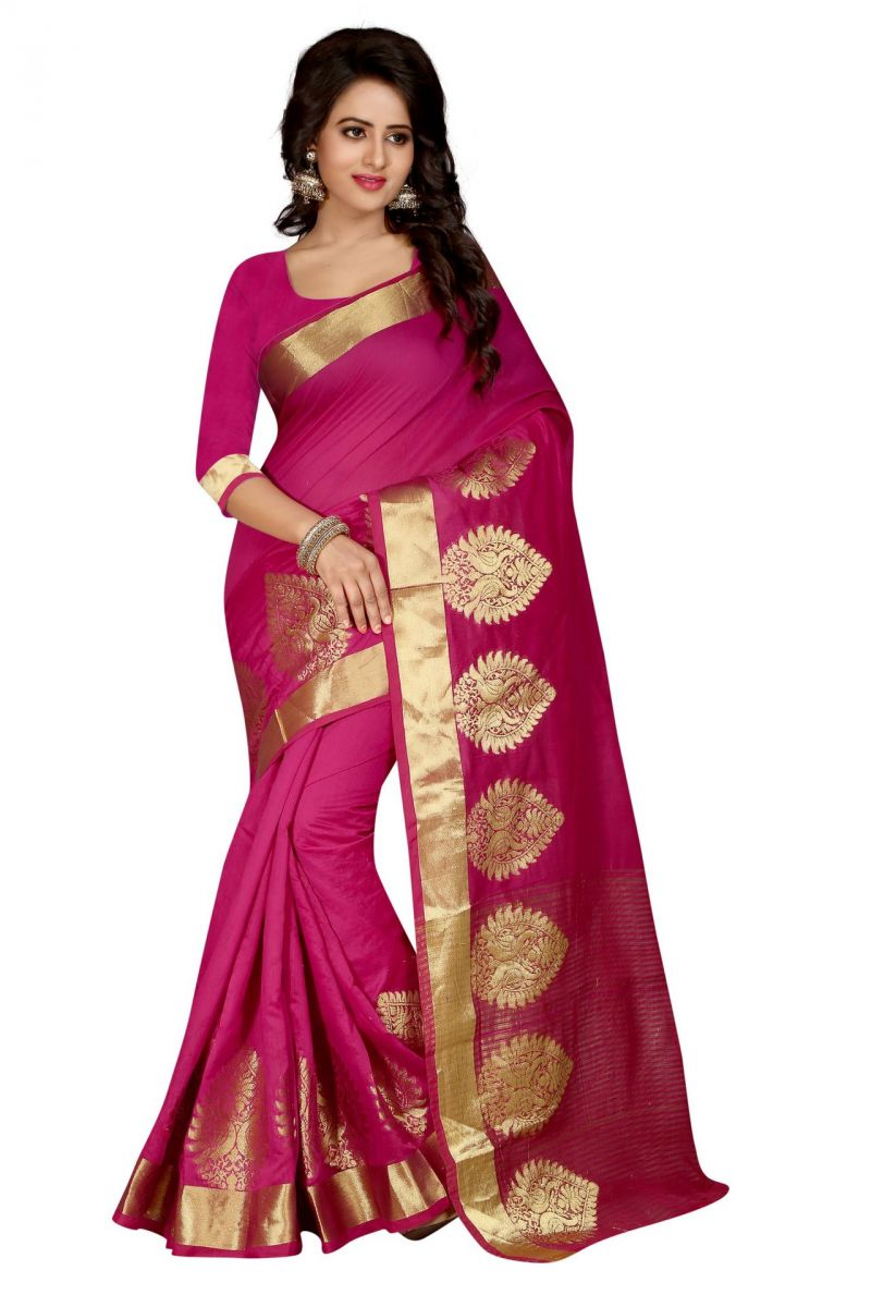 Buy Holyday Womens Poly Cotton Saree, Pink (raj_more_pink) online