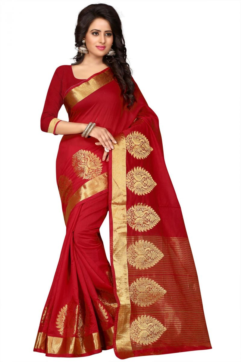 Buy Holyday Womens Poly Cotton Saree, Red (raj_more_red) online
