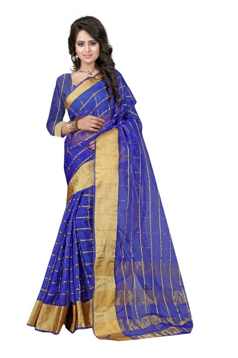 Buy Holyday Womens Silk Cotton Saree, Blue (raj_orgenza_blue) online