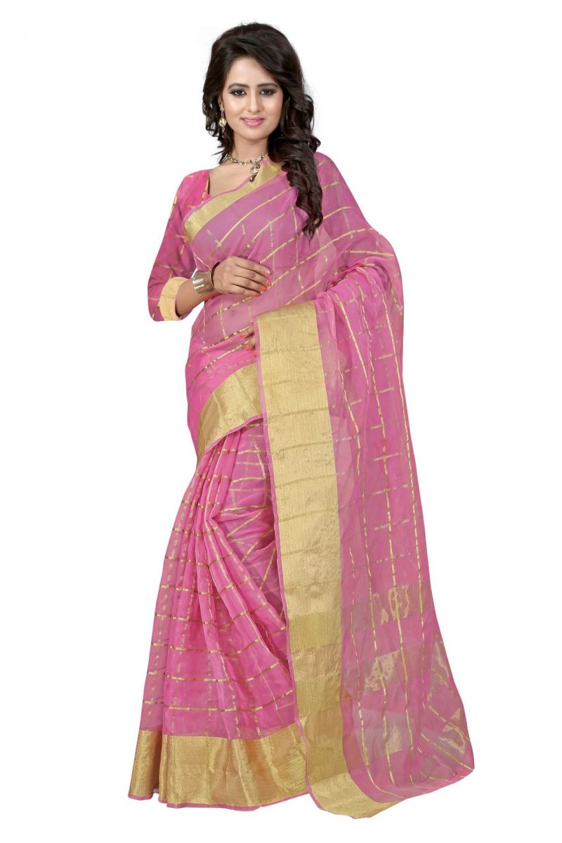 Buy Holyday Womens Silk Cotton Saree, Pink (raj_orgenza_pink) online