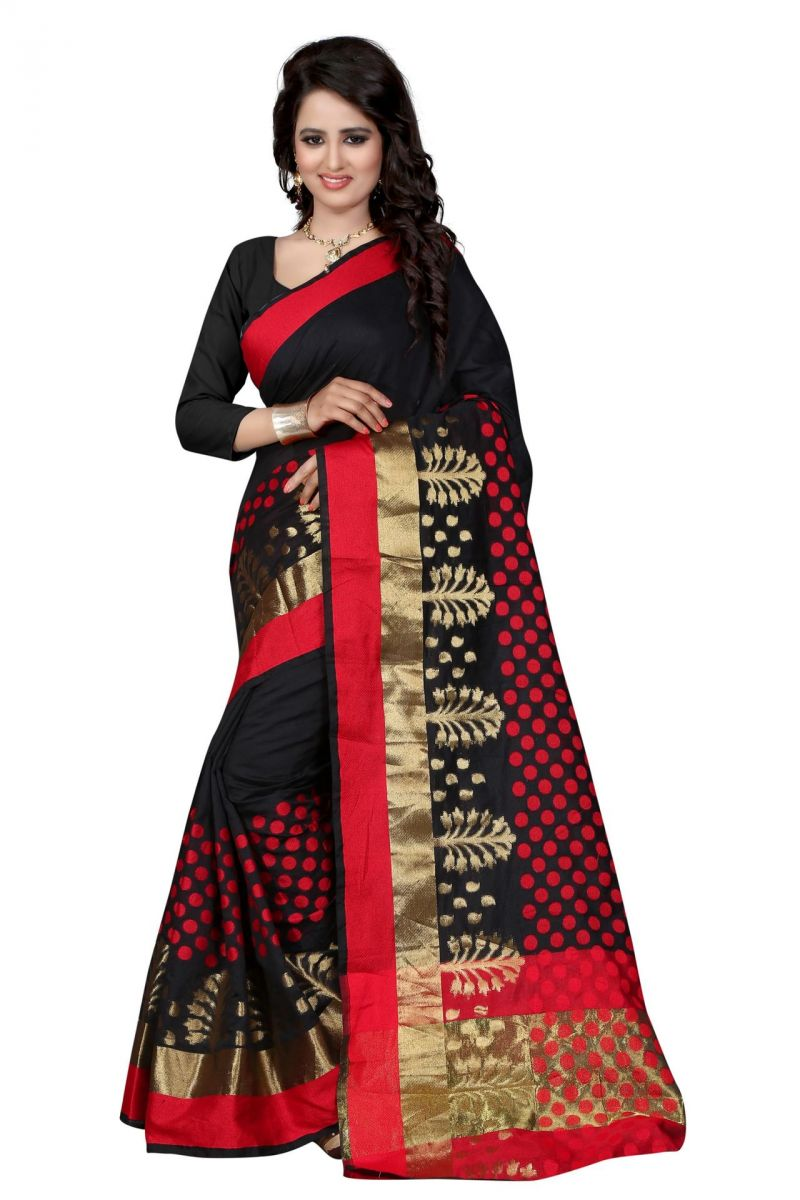Buy Holyday Womens Poly Cotton Saree, Black (raj_pari_black) online