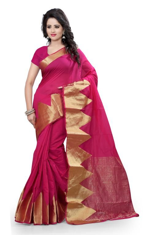 Buy Holyday Womens Cotton Silk Self Design Saree, Pink (raj_piramid_pink) online