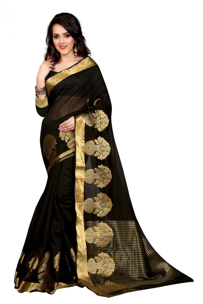 Buy Holyday Womens Poly Cotton Saree, Black (raj_pot_black) online